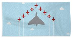 Raf Red Arrows In Formation With Vulcan Bomber Hand Towel