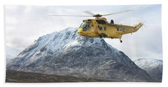 Hand Towel featuring the digital art Raf Sea King - Sar by Pat Speirs