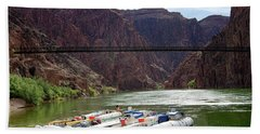 Rafts With Black Bridge In The Distance Hand Towel
