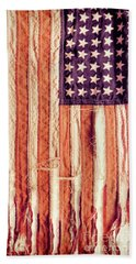 Ragged American Flag Hand Towel by Jill Battaglia