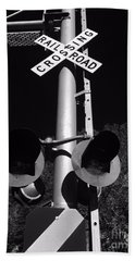 Rail Sign Black And White Hand Towel