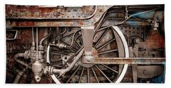 Rail Wheel Grunge Detail,  Steam Locomotive 06 Bath Towel