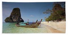 Railay Beach, Phra Nang Beach, Long-tail Boat And Cliff Bath Towel