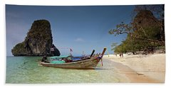 Railay Beach, Phra Nang Beach, Long-tail Boat And Cliff Hand Towel