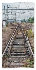 Hand Towel featuring the photograph Railroad Tracks And Junctions by Antony McAulay