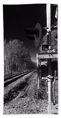 Railway 2 Black And White Hand Towel