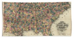 Railway And Countmapy Map Of The Southern States 1864 Bath Towel