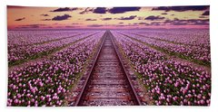 Railway In A Purple Tulip Field Bath Towel