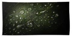 Rain Drops On Leaf Bath Towel