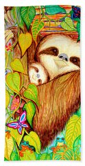 Rain Forest Survival Mother And Baby Three Toed Sloth Bath Towel