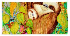 Rain Forest Survival Mother And Baby Three Toed Sloth Hand Towel