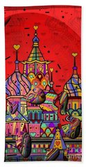 Rain In Moskau Popart By Nico Bielow Bath Towel