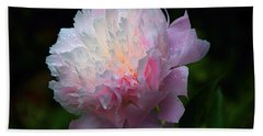 Hand Towel featuring the photograph Rain-kissed Peony by Byron Varvarigos