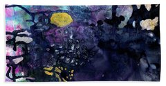 Rain On A Sunny Day - Colorful Dark Contemporary Abstract Hand Towel