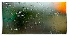 Rain Soaked Glass Window Hand Towel