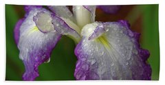 Rain-soaked Iris Hand Towel by Marie Hicks