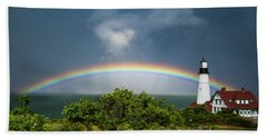 Rainbow At Portland Headlight Hand Towel