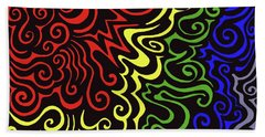 Rainbow Burst Tribal Bath Towel