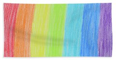 Rainbow Crayon Drawing Hand Towel by GoodMood Art
