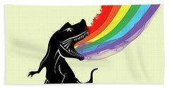 Rainbow Dinosaur Hand Towel by Mark Ashkenazi