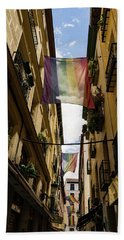 Rainbow Flags Decorating Madrid For Worldpride 2017 Celebrations Hand Towel