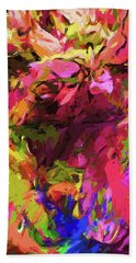 Rainbow Flower Rhapsody Pink Cobalt Blue Bath Towel