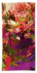 Rainbow Flower Rhapsody Purple Green Bath Towel