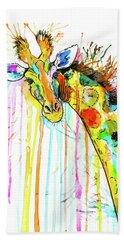 Bath Towel featuring the painting Rainbow Giraffe by Zaira Dzhaubaeva