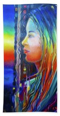Hand Towel featuring the painting Rainbow Girl 241008 by Selena Boron