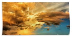 Rainbow In Sunset Clouds Bath Towel by Thomas R Fletcher