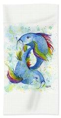 Hand Towel featuring the painting Rainbow Koi by Darice Machel McGuire