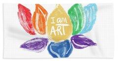 Rainbow Lotus I Am Art- Art By Linda Woods Hand Towel