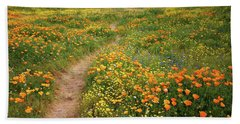 Rainbow Of Wildflowers Bloom Near Diamond Lake In California Hand Towel