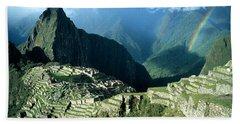 Rainbow Over Machu Picchu Hand Towel