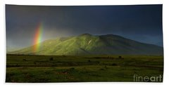 Rainbow Over Mount Ara After Storm, Armenia Bath Towel by Gurgen Bakhshetsyan