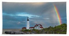 Rainbow Over Portland Head Light Bath Towel