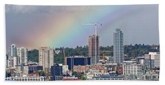 Rainbow Over Seattle Hand Towel