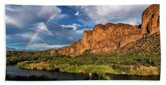 Bath Towel featuring the photograph Rainbow Over The Bulldogs  by Saija Lehtonen