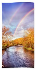 Hand Towel featuring the photograph Rainbow Over The River II by Debra and Dave Vanderlaan