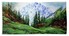 Rainbow Over The Snow Covered Mountain Hand Towel