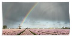 Rainbow Over Windmill And Flower Fields Hand Towel
