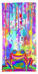 Bath Towel featuring the painting Rainbow Painted Frog  by Nick Gustafson