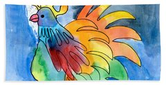 Rainbow Rooster Hand Towel
