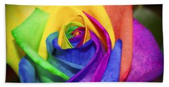 Rainbow Rose In Paint Bath Towel