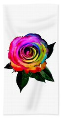 Rainbow Rose  Bath Towel