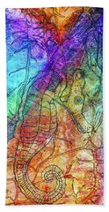 Rainbow Seahorse Hand Towel by Janet Immordino