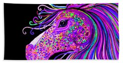 Rainbow Spotted Horse Head 2 Hand Towel