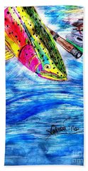 Rainbow Trout Fly Fishing Hand Towel