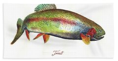 Rainbow Trout Hand Towel by Juan Bosco