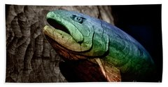 Hand Towel featuring the photograph Rainbow Trout Wood Sculpture by John Stephens